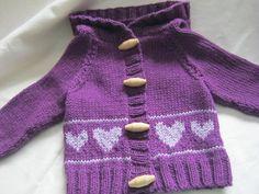 "Hand-knitted hearts hoodie newborn girl valentine via Etsy  Click ""Like"" See more crochet patterns: https://www.etsy.com/shop/Patternstriedandtrue Find my  blog for tips: http://patternstriedandtrue.wordpress.com"