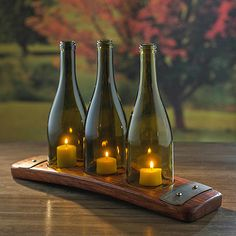 Reclaimed Barrel Stave Candle Holder with 3 Wine Bottles at Wine Enthusiast - $79.95
