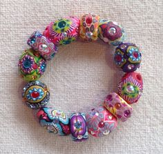 Billie+Beads+Millefiore+multishaped+Bead+Bracelet+by+BillieBeads,+$200.00