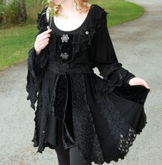 Items similar to RESERVED for DustyDustBunny - tWiLiGhT - Tattered Chic - - Short Faerie elf pixy coat- Made with recycled sweaters velvet and lace on Etsy Dark Fashion, Gothic Fashion, Witch Fashion, Latex Fashion, Steampunk Fashion, Emo Fashion, Chandelure Pokemon, Romantic Goth, Gothic Outfits