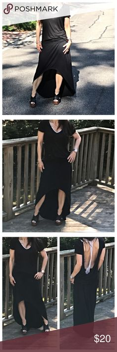 🆕 high low fold waist skirt Chic light jersey rayon spandex knit high low skirt PLEASE Use the Poshmark new option you can purchase and it will give you the option to pick the size you want ( all sizes are available) BUNDLE and save 10% ( no trades price is firm unless bundled) Skirts High Low