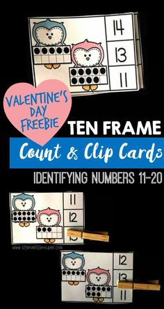 FREE Valentines Day Count and Clip Cards to help Preschoo, Prek, and Kindergarten practice counting from 11-20 on ten frames. Perfect for math centers, homeschool, extra learning,and Valentines Day math activity