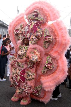 Corey Rayford's 8,000, 150-pound suit took five months to create. He was photographed on Mardi Gras in the 7th Ward