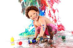 kids cake smash and paint splash pictures -
