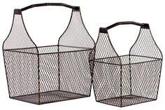 2 Piece Metal Basket Set