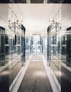 Mirrored closet space