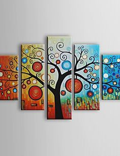 Hand-painted Abstract Life Trees Oil Painting with Stretched... – USD $ 119.99
