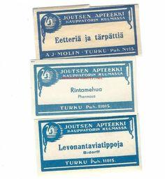 Joutsen Apteekki Turku -apteekkietiketti 3 kpl (#538801) - Antikvariaatti.net