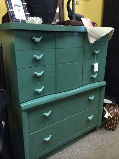 Mid-Century chest with custom mixed paint and the cutest little metal birds as pulls!