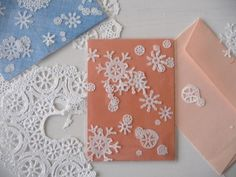 Snowflake cards made from paper doilies