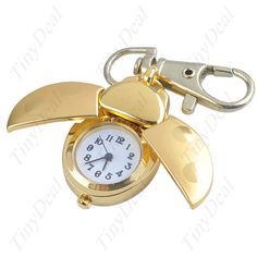 Cute Beetle Shape Pocket Quartz Watch Keychain Metal Key Chain Pendant with Moveable Cover WTH-21054