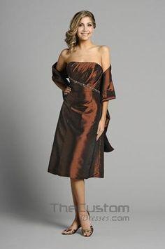A-line Strapless Tea-length Taffeta Bridesmaid Dresses 14305331