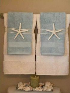 Ideal for a towel display Cute if in a beach house or a guest room. Could change it up to go with themes, like a pinecone for a cabin. Mermaid Bathroom, Beach Theme Bathroom, Nautical Bathrooms, Beach Room, Beach Bathrooms, Bathroom Theme Ideas, Beachy Bathroom Ideas, Seaside Bathroom, Paris Bathroom
