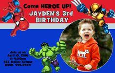 Super Hero Squad Birthday Party Invitations 24 HOUR SERVICE. $6.99, via Etsy.