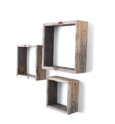 Amazon.com: BarnwoodUSA Rustic Open Box Shelves - 100 Percent Reclaimed Wood, Weathered Gray: Home & Kitchen