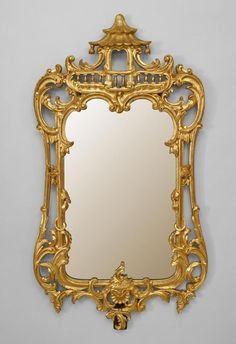 "English Chinese Chippendale gilt carved and filigree vertical wall mirror with pagoda top (19/20th Cent) - Dim: 26.5"" w x 50"" h."