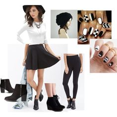 """Casual B&W Outfit"" for a night out/ working as a hostess/ really any type of day/night out while keeping it casual!"