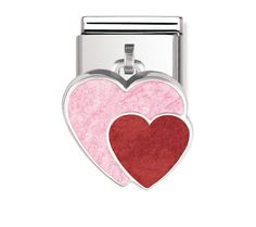 Nomination Stainless Steel, Silver and Enamel Double Heart Charm Nomination Charms, Nomination Bracelet, Silver Enamel, Heart Charm, Charm Jewelry, Charmed, My Love, Bracelets, Stainless Steel