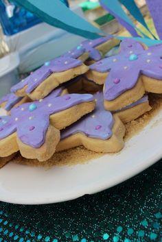 Purple starfish cookies at a Mermaid Party #mermaid #partycookies