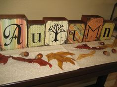 More fun blocks to make, squared blocks, scrapbook paper with vinyl lettering, and black paint