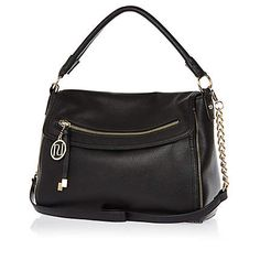 Black fold over slouch bag - shoulder bags - bags / purses - women Slouch Bags, Satchel, Crossbody Bag, Carry On Suitcase, River Island Womens, Womens Purses, Purses And Bags, New Baby Products, Handbags