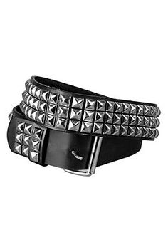 "Hot Topic:$19 ""Non-Leather Three Row Pyramid Belt"". Removable buckle, goes up to 42"". A punk vegan classic."