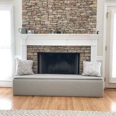 A DIY on how to make your own bench cover for your fireplace! Functional, safe, and stylish! Stone or Brick fireplace hearth cover. # fireplace cover, How to make a Fireplace Hearth Cover Fireplace Seating, Fireplace Inserts, Diy Fireplace, Fireplace Design, Fireplace Cover Up, Fireplace Update, Small Fireplace, Living Room Seating, My Living Room