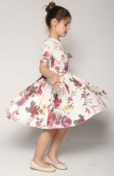 Spring Flower girl dress floral print-bridesmaid girls by nukile