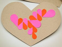 handmade DIY Craft for kids - geometric geo modern DIY hearts mosaic patterns from