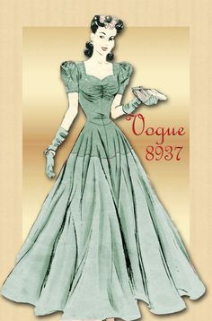 Vintage Pattern Vogue 8937 - 1940s Gown  Evening Dress with  Flattering Bodice & Classic Sweetheart Neckline