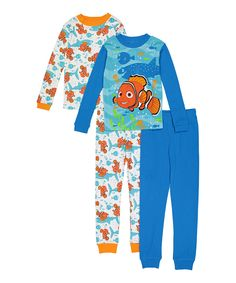 Love this Finding Nemo Blue & White Four-Piece Pajama Set - Boys by AME on #zulily! #zulilyfinds