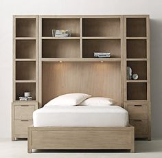 RH TEEN's Laguna Storage Wall Bed Set:Our collection's versatile, clean-lined profile features a weathered finish, flat-front drawers with a slim metal pull and simple block feet.