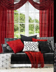 black and white furniture with red accents | Black Leather Sofa with Red, Black and White Accent Pillows, Window