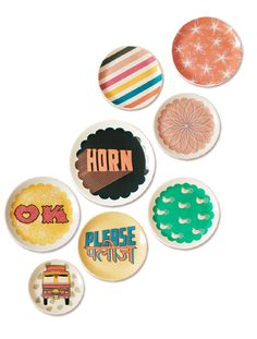 """""""Horn OK Please"""" plates inspired by Indian Truck Art.  Just Noey"""