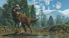 *Cryolophosaurus with *Glacialisaurus in the early Jurassic. Art by James Kuether.