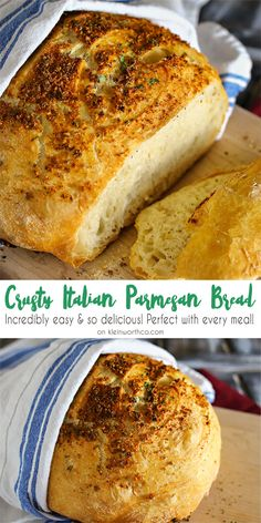 Crusty Italian Parmesan Bread is one of the easiest bread recipes to make. Great with just about any dinner, one loaf is never enough. So delicious. via @KleinworthCo