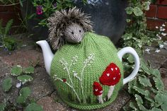 From my range of tea cosy designs, inspired by nature . This is a PDF knitting pattern for a Hedgehog Tea Cosy and Egg Cosy. Tea Cosy Knitting Pattern, Knitting Patterns, Knitting Ideas, Knitting Projects, Crochet Projects, Grannies Crochet, Crochet Lace, Knitted Tea Cosies, Mug Cozy