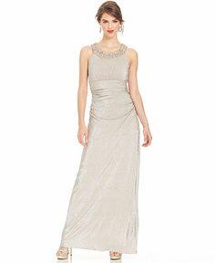 8fc92b60e12 R amp M Richards Sleeveless Jewel-Trim Metallic Gown - Dresses - Women -  Macy s