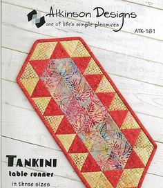 Atkinson Designs: Tankini Table Runner. Three sizes to fit anywhere in your home...dining room table, coffee table, end table, even your toilet tank!