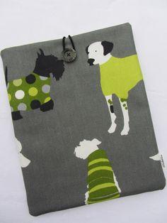 HANDMADE IPAD COVER IN MAN'S BEST FRIEND DOG DESIGN FABRIC £11.95
