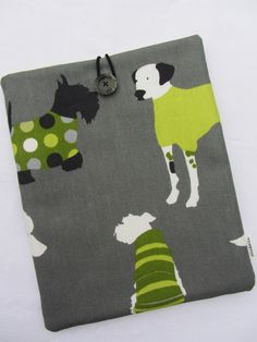 FATHER'S DAY GIFT IPAD COVER IN MAN'S BEST FRIEND DOG DESIGN FABRIC £11.95