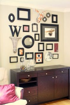 Wall collage with empty frames