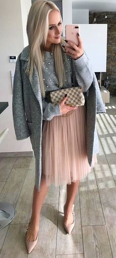 women's grey and pink flare midi dress with cardigan and pointed toe heel shoes outfit
