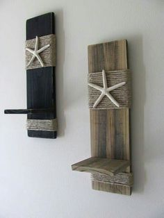 Reclaimed Upcycled Wood Plank Starfish Sconces - Wall Decor - Black - Beach Cottage - Home Decor - Nautical. Love this beach design inspiration, you should go look at far more by clicking through to this website. Nautical Wall Decor, Nautical Home, Coastal Decor, Nautical Interior, Nautical Bedroom, Coastal Interior, Coastal Bedrooms, Nautical Design, Nautical Style