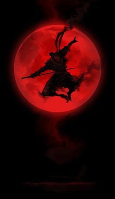 Red Moon ^_^赤月の忍者 spitpaint, Photoshop I wanted to do something simple, ultra-limited palette, basically the red and black playing off of the ninja a. Wallpaper Samurai, Ninja Wallpaper, Fantasy Kunst, Fantasy Art, Ninja Kunst, Art Ninja, Samurai Artwork, Samurai Tattoo, Art Asiatique