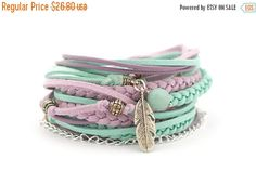 CYBER MONDAY SALE Feather charm Bracelet Mint Lilac by cardioceras