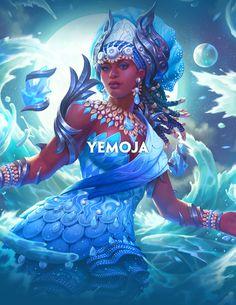 Yemoja, Goddess of Rivers Black Love Art, Black Girl Art, Black Girl Magic, Art Girl, Oshun Goddess, Goddess Art, Moon Goddess, African Mythology, African Goddess