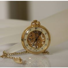Women's Vintage Mechanical Wind Up Pendant Watch Necklace Retro Watch,... ($95) ❤ liked on Polyvore featuring jewelry, watches, gold pendant, gold coin pendant, chain pendants, skeleton watches and gold chain pendant