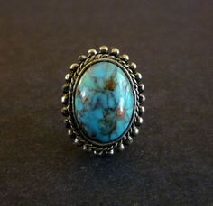Southwestern Cocktail Ring Faux Turquoise by MaisonChantalMichael