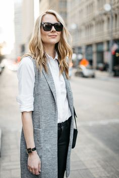 Fall Outfit, Winter Outfit, White Button-Down Shirt, Long Grey Vest